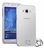 Eiroo Mirror Samsung Galaxy J2 Metal Kenarlı Aynalı Silver Rubber Kılıf