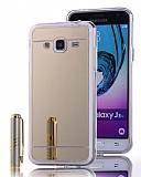 Eiroo Mirror Samsung Galaxy J3 Silikon Kenarlı Aynalı Gold Rubber Kılıf