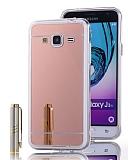 Eiroo Mirror Samsung Galaxy J3 Silikon Kenarlı Aynalı Rose Gold Rubber Kılıf