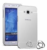 Eiroo Mirror Samsung Galaxy J5 Metal Kenarlı Aynalı Silver Rubber Kılıf
