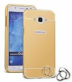 Eiroo Mirror Samsung Galaxy J5 Metal Kenarlı Aynalı Gold Rubber Kılıf