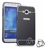 Eiroo Mirror Samsung Galaxy J5 Metal Kenarlı Aynalı Siyah Rubber Kılıf
