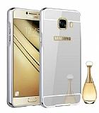 Eiroo Mirror Samsung Galaxy J5 Prime Metal Kenarlı Aynalı Silver Rubber Kılıf