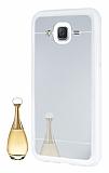Eiroo Mirror Samsung Galaxy J5 Silikon Kenarlı Aynalı Silver Rubber Kılıf