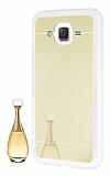 Eiroo Mirror Samsung Galaxy J5 Silikon Kenarlı Aynalı Gold Rubber Kılıf