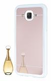 Eiroo Mirror Samsung Galaxy J5 Silikon Kenarlı Aynalı Rose Gold Rubber Kılıf