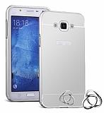 Eiroo Mirror Samsung Galaxy J7 2016 Metal Kenarlı Aynalı Silver Rubber Kılıf