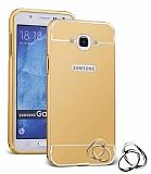 Eiroo Mirror Samsung Galaxy J7 2016 Metal Kenarlı Aynalı Gold Rubber Kılıf