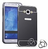 Eiroo Mirror Samsung Galaxy J7 2016 Metal Kenarlı Aynalı Siyah Rubber Kılıf