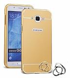 Eiroo Mirror Samsung Galaxy J7 / Galaxy J7 Core Metal Kenarlı Aynalı Gold Rubber Kılıf