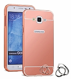 Eiroo Mirror Samsung Galaxy J7 Metal Kenarlı Aynalı Rose Gold Rubber Kılıf