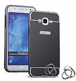 Eiroo Mirror Samsung Galaxy J7 / Galaxy J7 Core Metal Kenarlı Aynalı Siyah Rubber Kılıf