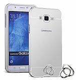Eiroo Mirror Samsung Galaxy J7 / Galaxy J7 Core Metal Kenarlı Aynalı Silver Rubber Kılıf