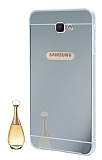 Eiroo Mirror Samsung Galaxy J7 Prime Metal Kenarlı Aynalı Silver Rubber Kılıf