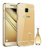 Eiroo Mirror Samsung Galaxy J7 Prime Metal Kenarlı Gold Aynalı Rubber Kılıf
