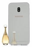 Eiroo Mirror Samsung Galaxy J7 Pro 2017 Metal Kenarlı Aynalı Silver Rubber Kılıf