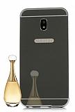 Eiroo Mirror Samsung Galaxy J7 Pro 2017 Metal Kenarlı Aynalı Siyah Rubber Kılıf