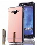 Eiroo Mirror Samsung Galaxy J7 Silikon Kenarlı Aynalı Rose Gold Rubber Kılıf