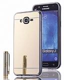 Eiroo Mirror Samsung Galaxy J7 Silikon Kenarlı Aynalı Gold Rubber Kılıf