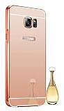 Eiroo Mirror Samsung Galaxy Note 5 Metal Kenarlı Aynalı Rose Gold Rubber Kılıf
