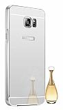 Eiroo Mirror Samsung Galaxy Note 5 Metal Kenarlı Aynalı Silver Rubber Kılıf