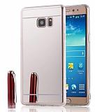 Eiroo Mirror Samsung Galaxy Note 5 Silikon Kenarlı Aynalı Silver Rubber Kılıf