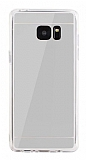 Eiroo Mirror Samsung Galaxy Note FE Silikon Kenarlı Aynalı Silver Rubber Kılıf