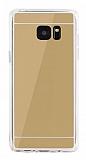 Eiroo Mirror Samsung Galaxy Note FE Silikon Kenarlı Aynalı Gold Rubber Kılıf