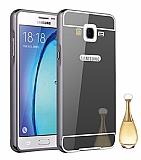 Eiroo Mirror Samsung Galaxy On7 Metal Kenarlı Aynalı Siyah Rubber Kılıf