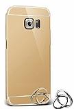 Eiroo Mirror Samsung Galaxy S6 Edge Metal Kenarlı Aynalı Gold Rubber Kılıf
