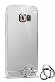 Eiroo Mirror Samsung Galaxy S6 Edge Metal Kenarlı Aynalı Silver Rubber Kılıf
