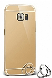 Eiroo Mirror Samsung Galaxy S6 Edge Plus Metal Kenarlı Aynalı Gold Rubber Kılıf