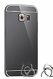 Eiroo Mirror Samsung Galaxy S6 Edge Plus Metal Kenarlı Aynalı Siyah Rubber Kılıf
