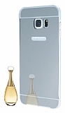 Eiroo Mirror Samsung Galaxy S6 Edge Plus Metal Kenarl� Aynal� Silver Rubber K�l�f