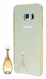 Eiroo Mirror Samsung Galaxy S6 Edge Plus Metal Kenarl� Aynal� Gold Rubber K�l�f