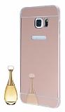 Eiroo Mirror Samsung Galaxy S6 Edge Plus Metal Kenarl� Aynal� Rose Gold Rubber K�l�f