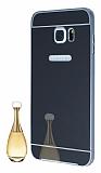 Eiroo Mirror Samsung Galaxy S6 Edge Plus Metal Kenarl� Aynal� Siyah Rubber K�l�f