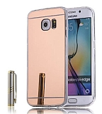 Eiroo Mirror Samsung Galaxy S6 Edge Silikon Kenarlı Aynalı Rose Gold Rubber Kılıf
