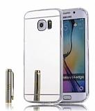 Eiroo Mirror Samsung Galaxy S6 Edge Silikon Kenarlı Aynalı Silver Rubber Kılıf