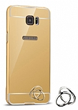 Eiroo Mirror Samsung Galaxy S7 Edge Metal Kenarlı Aynalı Gold Rubber Kılıf
