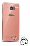Eiroo Mirror Samsung Galaxy S7 Edge Metal Kenarlı Aynalı Rose Gold Rubber Kılıf