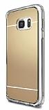Eiroo Mirror Samsung Galaxy S7 Edge Silikon Kenarl� Aynal� Gold Rubber K�l�f