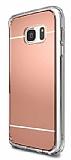 Eiroo Mirror Samsung Galaxy S7 Edge Silikon Kenarlı Rose Gold Rubber Kılıf