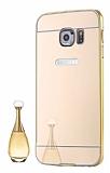Eiroo Mirror Samsung Galaxy S7 Metal Kenarlı Aynalı Gold Rubber Kılıf