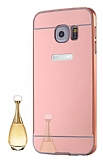 Eiroo Mirror Samsung Galaxy S7 Metal Kenarlı Aynalı Rose Gold Rubber Kılıf