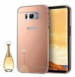 Eiroo Mirror Samsung Galaxy S8 Plus Metal Kenarlı Aynalı Rose Gold Rubber Kılıf