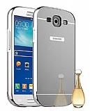 Eiroo Mirror Samsung i9300 Galaxy S3 Metal Kenarlı Aynalı Silver Rubber Kılıf