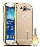 Eiroo Mirror Samsung i9300 Galaxy S3 Metal Kenarlı Aynalı Gold Rubber Kılıf