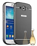 Eiroo Mirror Samsung i9300 Galaxy S3 Metal Kenarlı Aynalı Siyah Rubber Kılıf