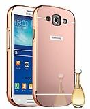 Eiroo Mirror Samsung i9300 Galaxy S3 Metal Kenarlı Aynalı Rose Gold Rubber Kılıf